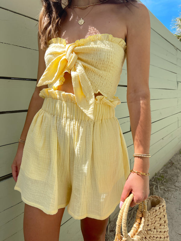 womens summer yellow matching top and shorts set