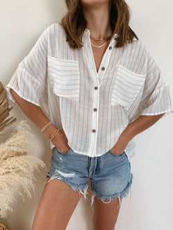 neutral striped boxy oversized top