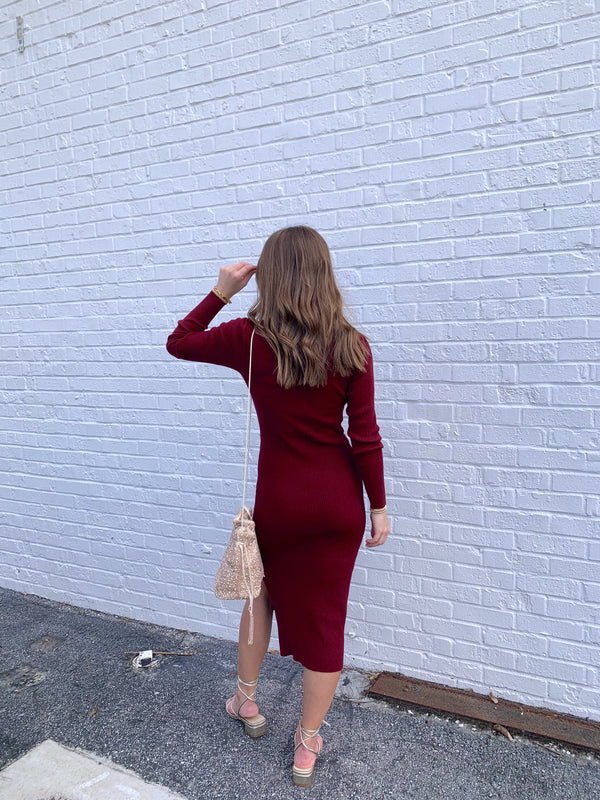 womens holiday burgundy sweater dress midi