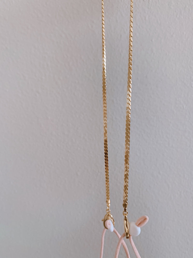 womens gold face mask chain