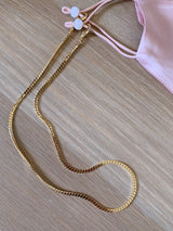 gold flat rope face mask chain