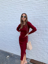 womens burgundy long sleeve sweater midi dress