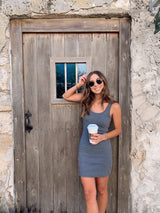 womens charcoal grey tank dress