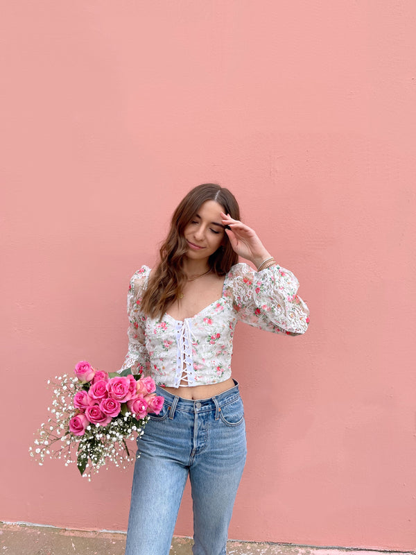 womens white floral lace up crop top