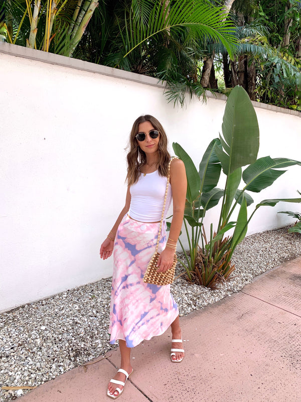 womens pink and purple tie dye midi skirt