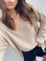 womens neutral tan oversized vneck sweater