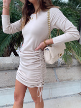 womens neutral long sleeve knit side ruched dress