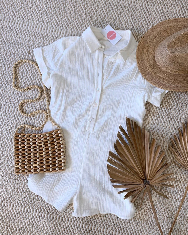 Weekend Vibes White Cotton Playsuit