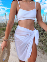 womens white sarong swim cover up