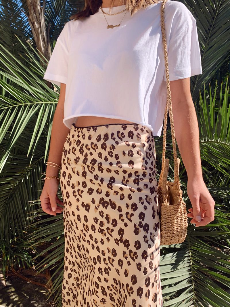 womens leopard satin midi skirt with white crop top tshirt
