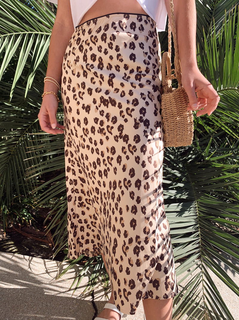womens leopard satin midi skirt summer and spring outfit