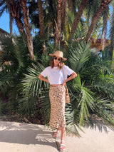womens satin leopard midi skirt with white crop top tshirt