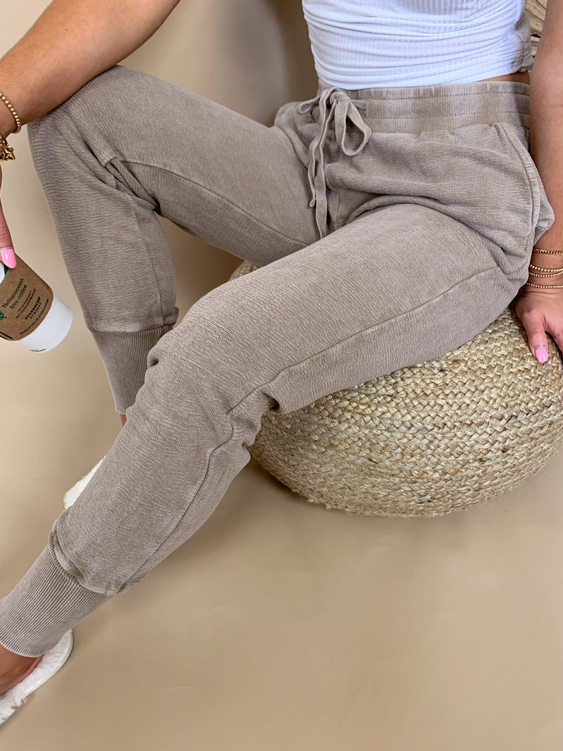 womens light brown acid wash sweatpants