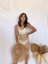 womens crochet cover up dress with fringe