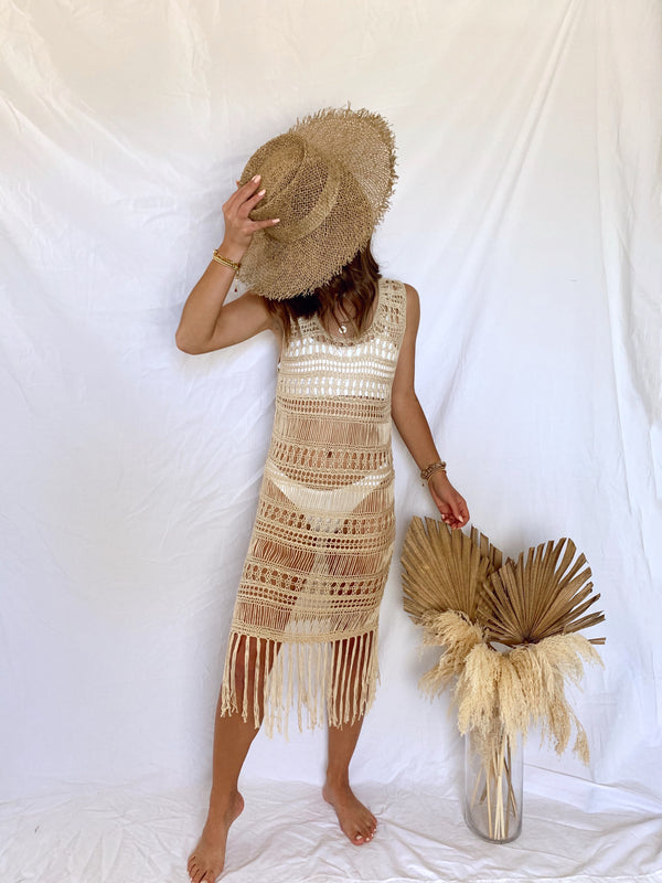 womens neutral crochet cover up dress