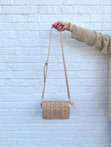 womens taupe weave Crossbody Bag