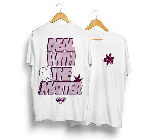 Limited edition signed - Junglist - Skibadee Deal with the Matter T-Shirt - (Burgundy) 3 left!