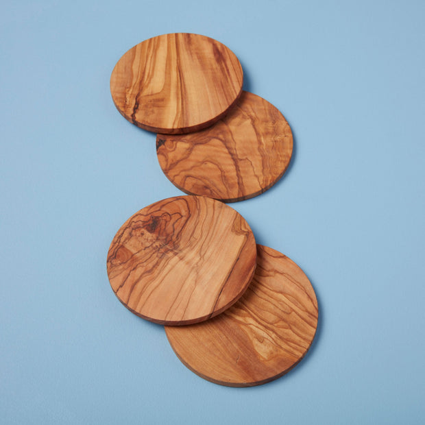 Olive Wood Round Coaster Set