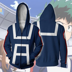 My Hero Academia Midoriya Cosplay Costume/Hoodie Blue | Anime Unity