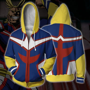 My Hero Academia All Might Cosplay Costume/Hoodie Blue | Anime Unity