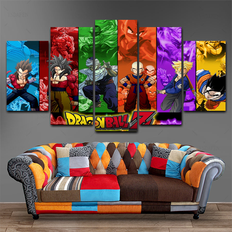 Dragonball 5 panel Wall art Canvas - Anime Unity Store/Shop