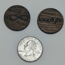 Load image into Gallery viewer, Walnut Wood Ball Marker size comparison