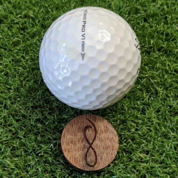 Walnut Wood Ball Marker on the Green