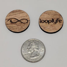 Load image into Gallery viewer, Mahogany Wood Ball Marker size comparison