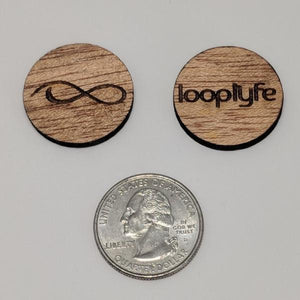 Mahogany Wood Ball Marker size comparison