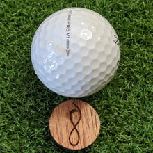 Load image into Gallery viewer, Mahogany Wood Ball Marker on the Green