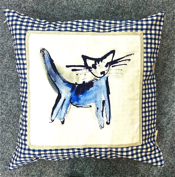 Hand Made Cat Print Cushion