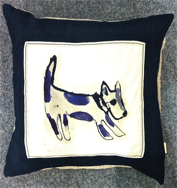 Hand Made Dog Print Cushion