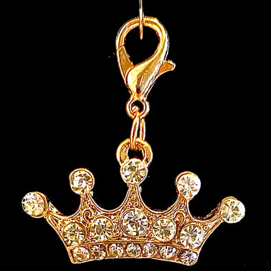 5 Point Sparkly Gold Crown Charm
