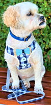 Checkered Dog Harness - Blue