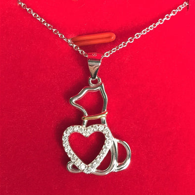 Cat Necklace with Love Heart - S925 Sterling Silver