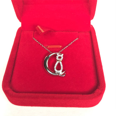 Cat in Half Crescent Moon - S925 Sterling Silver