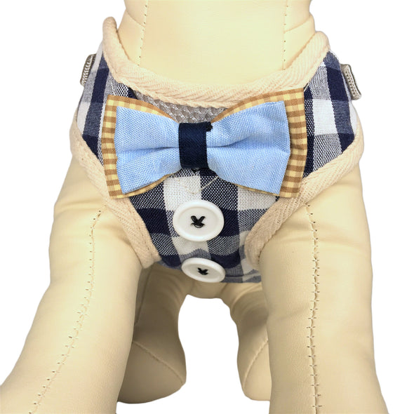 Checkered Dog Harness Blue Close Up