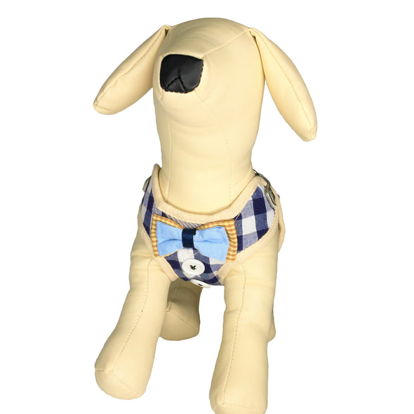 Checkered Dog Harness Blue Whole