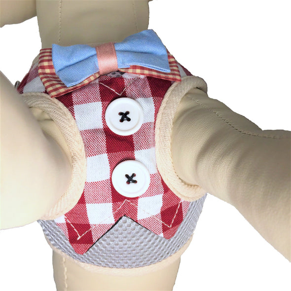 Checkered Dog Harness Red Close Up