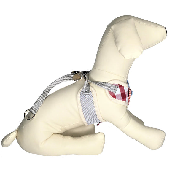 Checkered Dog Harness Red Side View