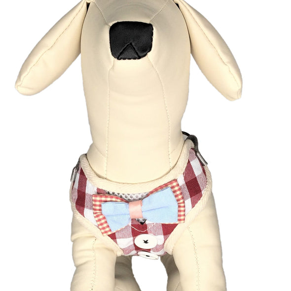 Checkered Dog Harness Red Whole