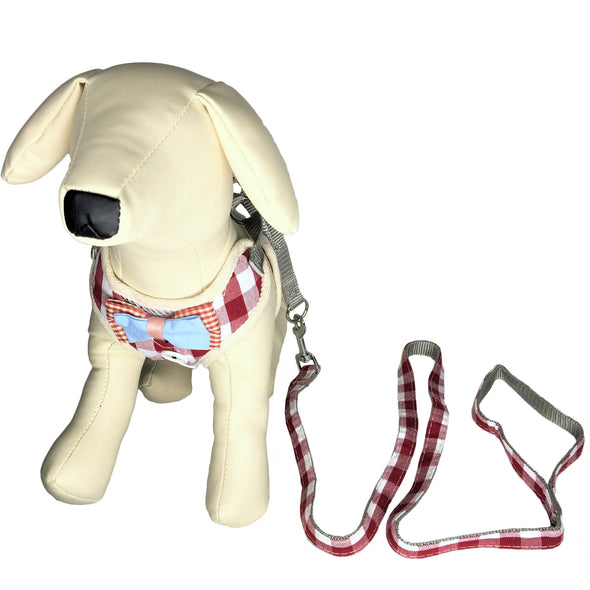 Checkered Dog Harness and Leash Red