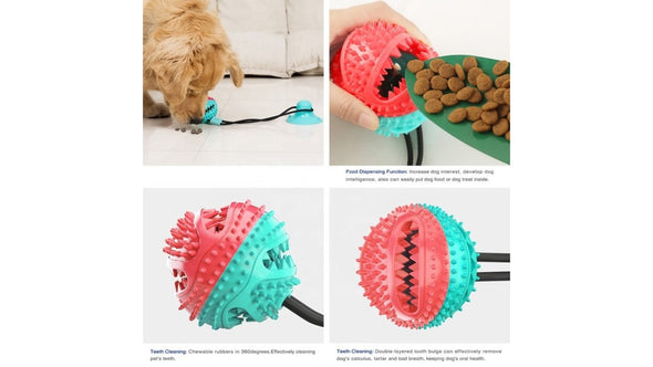Dog Chew Toy with Suction Cup, Interactive Food Dispensing Teeth Cleaning Ball Toys