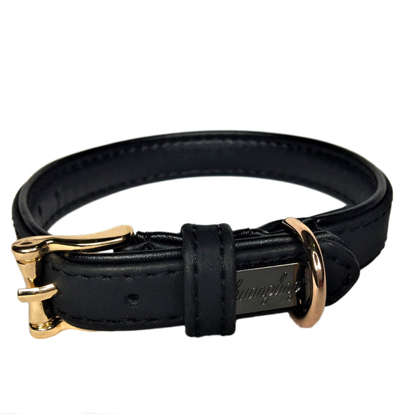 Faux Leather Dog Collar Black Front