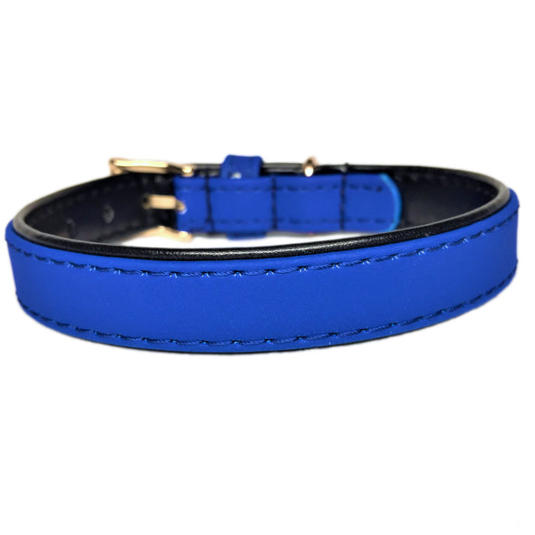Faux Leather Dog Collar Blue Back