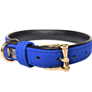 Faux Leather Dog Collar Blue Front