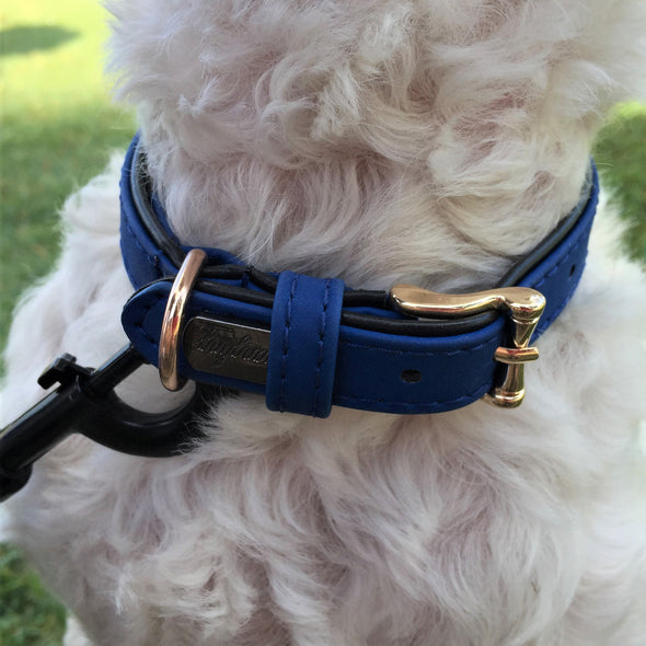 Faux Leather Dog Collar Blue Milo