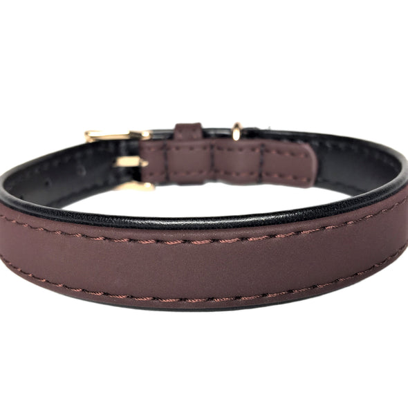 Faux Leather Dog Collar Brown Back