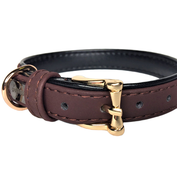 Faux Leather Dog Collar Brown Front