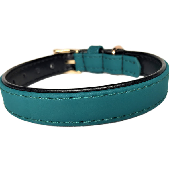 Faux Leather Dog Collar Green Back